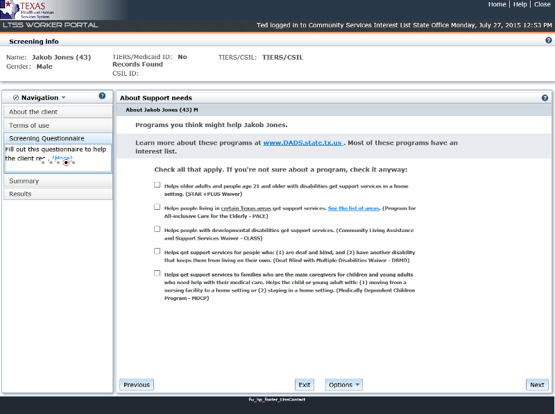 Step 4: Conduct the LTSS Screening Questionnaire
